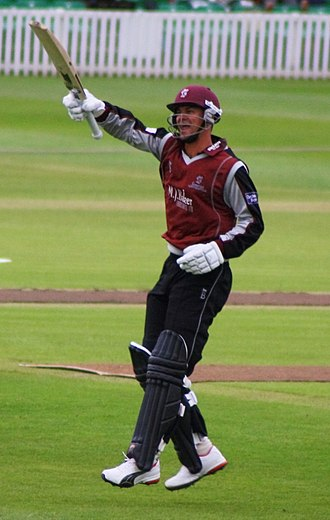 Zander de Bruyn - de Bruyn celebrates scoring a century for Somerset in 2010