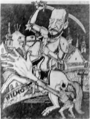 Żeligowski's Mutiny - Polish caricature: a Lithuanian trying to stop General Żeligowski from taking Wilno (Vilnius)