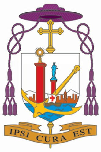 Ecclesiastical heraldry - Arms of Bishop Joseph Zen of Hong Kong with the simple Latin cross, and a violet galero (prior to his elevation to cardinal priest)