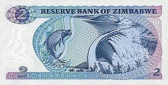 Banknotes of Zimbabwe - Image: Zimbabwe $2 1980 Reverse