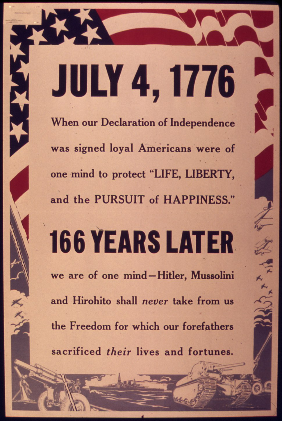 """""""July 4th 1776. When our Declaration of Independence was Signed Loyal Americans were of one mind to Protect Life... - NARA - 514752.tiff"""