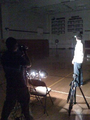 "Los Angeles Baptist High School - Director Jonathan Park, also known as ""J.P"", filming a video for chapel with Spencer Bakst entitled The Filing Cabinet."