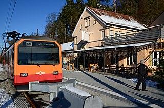 Uetliberg railway station Railway station in Switzerland, situated near to the summit of the Üetliberg mountain