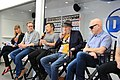 (L to R) IGN's Laura Prudom, Dan Jurgens, Jim Lee, Frank Miller, Brian Michael Bendis at SXSW 2018 (40048184754).jpg