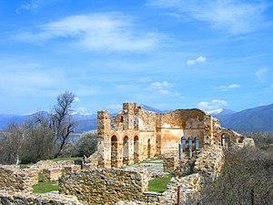 Small Prespa Lake - Image: Βασιλική Αγίου Αχιλλείου
