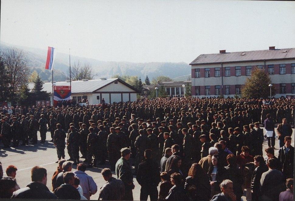 Заклетва војника 2001. године на Војном полигону Мањача.