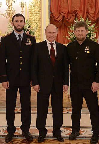 Magomed Daudov - The ceremonial event devoted to celebration of the Heroes of the country. Daudov, V.V. Putin, R.A. Kadyrov (Moscow, Kremlin 2014)