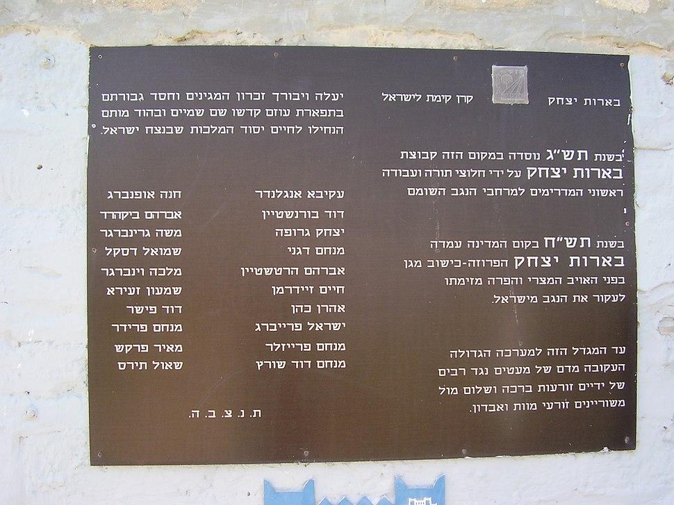 לוח הנצחה בבארות יצחק הישנה