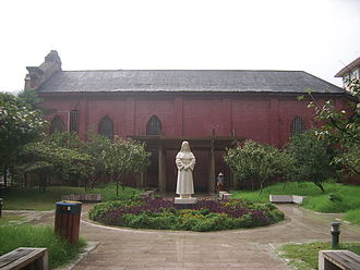 Cathedral of the Immaculate Conception (Hangzhou) - Statue of Sr. Hacard near the chapel of her Sisters of Charity Hospital