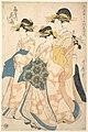 遊君出そめ初衣裳 扇屋内花扇-The Oiran Hanaogi of Ogiya attended by Two Shinzo and Her Kamuro Yoshino MET DP141305.jpg