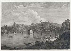 Old Wye Bridge, Chepstow - The stone and wooden bridge, before 1816