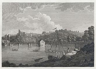 Old Wye Bridge, Chepstow - The stone and wooden bridge, before 1816