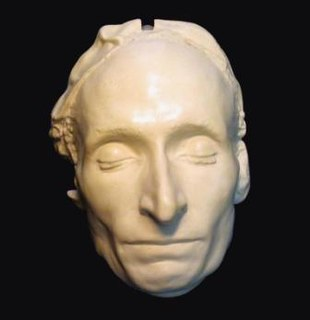 Death mask wax or plaster cast made of a person's face following death
