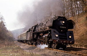 DR Class 01.5 - 01 0528-8 about to enter Honebach tunnel (near Bebra station and the DDR, Easter 1972