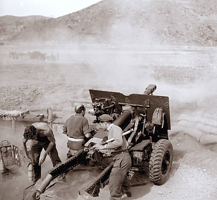 New Zealand artillery crew in action, 1952 02 Dad in action april1952 Korea sepia.jpg