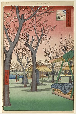 Plum Park in Kameido - Number 27 in One Hundred Famous Views of Edo, Plum Orchard in Kamada (蒲田の梅園 Kamada no umezono, shows a similar colour scheme and subject.