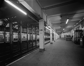 116th Street–Columbia University (IRT Broadway–Seventh Avenue Line) - The station's downtown platform in 1978.