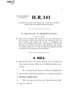 116th United States Congress H. R. 0000141 (1st session) - Social Security Fairness Act of 2019.pdf