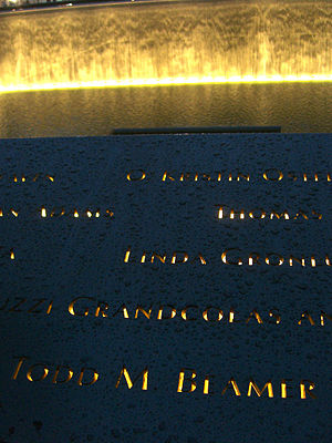 Todd Beamer - Beamer's name is located on Panel S-68 of the National September 11 Memorial's South Pool, along with those of other passengers of Flight 93.