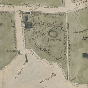 First known map of Kirribilli, a subdivision map by Robert Campbell detail showing the Beulah Street area which was leased at the time to Thomas Jeffrey