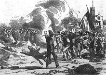 Stampa agiografica del tempo che rappresenta lo scontro fra militari borbonici (a sinistra sullo sfondo) e popolani (in primo piano). Al centro della stampa il fumo delle case incendiate.