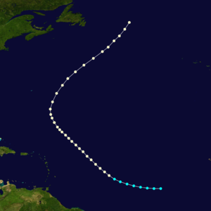 1875 Atlantic hurricane season - Image: 1875 Atlantic hurricane 2 track