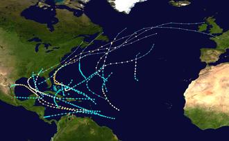 1887 Atlantic hurricane season - Image: 1887 Atlantic hurricane season summary map