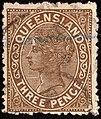 1890 3d brown Queensland used Yv53 SG192.jpg
