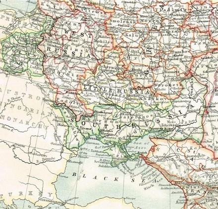 A map from 1904 showing administrative units of Little Russia, South Russia and West Russia within the Russian Empire prior to Ukrainian independence 1904 Map showing Ukraine region before unification.pdf