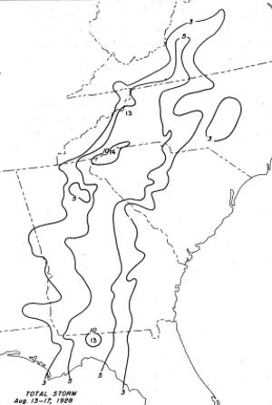 1928 Haiti hurricane - Rainfall totals associated with the hurricane in the United States