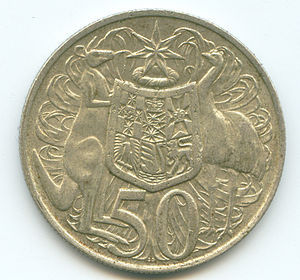 Coins of the Australian dollar - The circular 1966 50 cent coin.