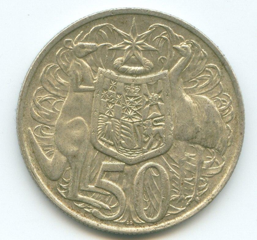 1966 australian 50 cent piece circular
