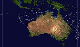1973–74 Australian region cyclone season - Image: 1973 1974 Australian cyclone season summary