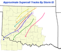 1999 Oklahoma tornado outbreak supercell tracks.png