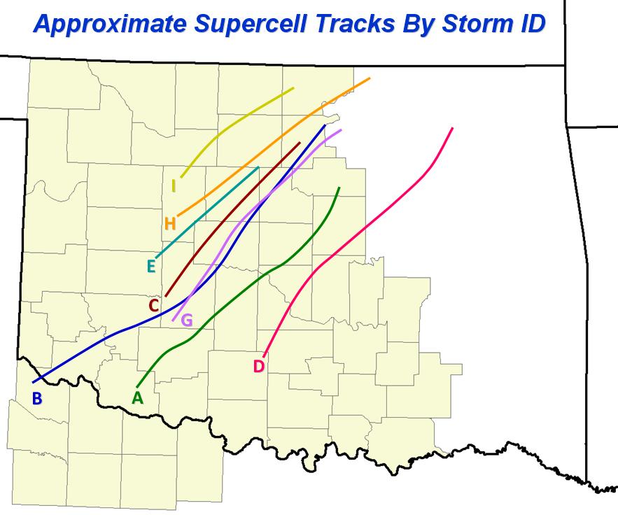 1999 Oklahoma tornado outbreak supercell tracks