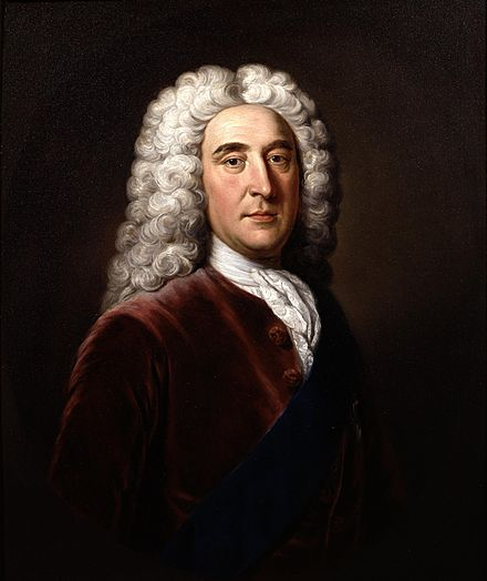Thomas Pelham-Holles, 1st Duke of Newcastle, with whom in 1755 Fox formed a political alliance, but their government soon fell. Newcastle later made an agreement with Fox's enemy William Pitt, forming the Pitt-Newcastle Ministry 1stDukeOfNewcastleOld.jpg