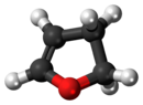 Ball-and-stick model of the 2,3-dihydrofuran molecule