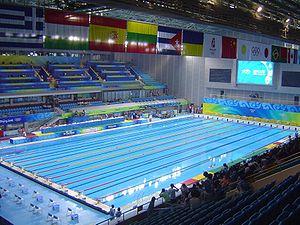 Modern pentathlon at the 2008 Summer Olympics - Image: 2008 Olympic Modern penthalton swimming