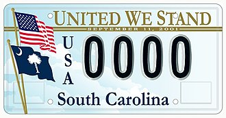 United we stand, divided we fall - 'United We Stand' license plate designed by Troy Wingard for the South Carolina Department of Public Safety in 2002