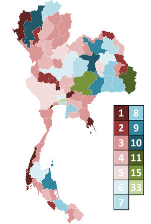 Thai general election, 2011 - Appropriation of constituency seats per province