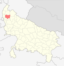 Location of Meerut district in Uttar Pradesh