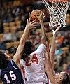 2013 Virginia Tech - Robert Morris - Taijah Campbell rebounding.jpg
