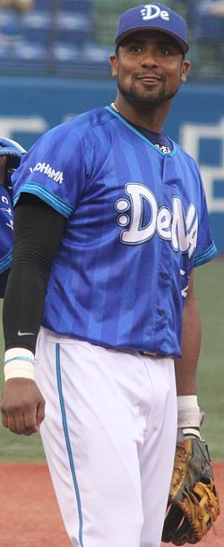 20140713 Aarom Wilfred Baldiris Pérez, infielder of the Yokohama DeNA BayStars, at Meiji Jingu Stadium.JPG