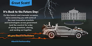 Back to the Future (franchise) - Image: 2015 Back to the Future Day by The White House