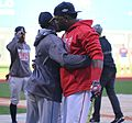 2016-10-10 Rajai Davis and David Ortiz before game 07.jpg