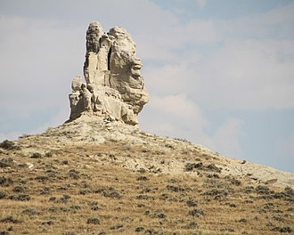 Teapot Dome scandal - Teapot Rock from the west in 2017. The oil fields are beyond the rock.