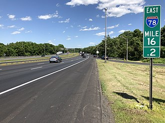 Franklin Township, Hunterdon County, New Jersey - I-78/US 22 eastbound in Franklin Township