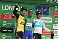 2018 Tour of Britain stage 8 - race top three riders Primoz Roglic, Julian Alaphilippe and Wout Poels.JPG