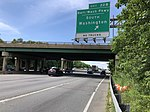 2019-05-27 15 08 32 View north along the outer loop of the Capital Beltway (Interstate 95 and Interstate 495) at Exit 22B (Baltimore-Washington Parkway South, Washington) in Greenbelt, Prince Georges County, Maryland.jpg