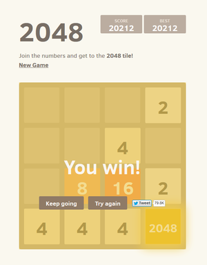 2048 (video game) - A completed game of 2048. The 2048 tile can be seen in the bottom-right corner.